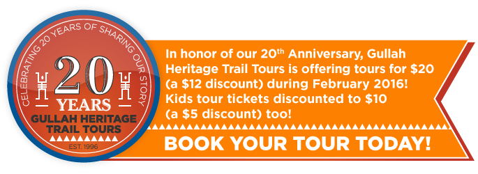 In honor of our 20th Anniversary, Gullah Heritage Trail Tours is offering tours for $20 (a $12 discount) during February 2015!